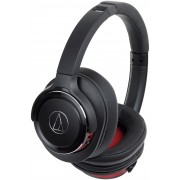 Audio-Technica ATH-WS660BTBRD Solid Bass Wireless Over-Ear Headphones with Built-in Mic & Control (Black/Red)