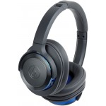Audio-Technica ATH-WS660BTGBL Solid Bass Wireless Over-Ear Headphones with Built-in Mic & Control (Gunmetal/Blue)