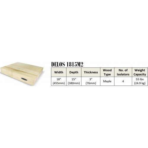 "IsoAcoustics DELOS 1815M2 Turntable Isolation Maple Wood Platform (18""x15""x3"")"
