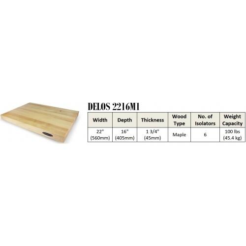 "IsoAcoustics DELOS 2216M1 Turntable Isolation Maple Wood Platform (22""x16""x1.75"")"