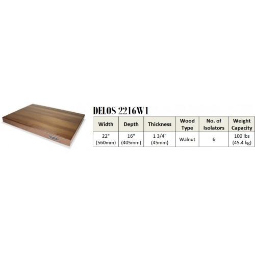 "IsoAcoustics DELOS 2216W1 Turntable Isolation Walnut Wood Platform (22""16""x1.75"")"