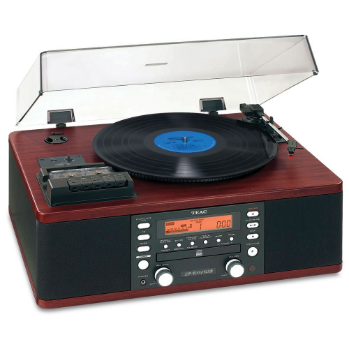 TEAC LP-R550USB Tabletop CD Recorder with Cassette and Turntable (Wood Grain)